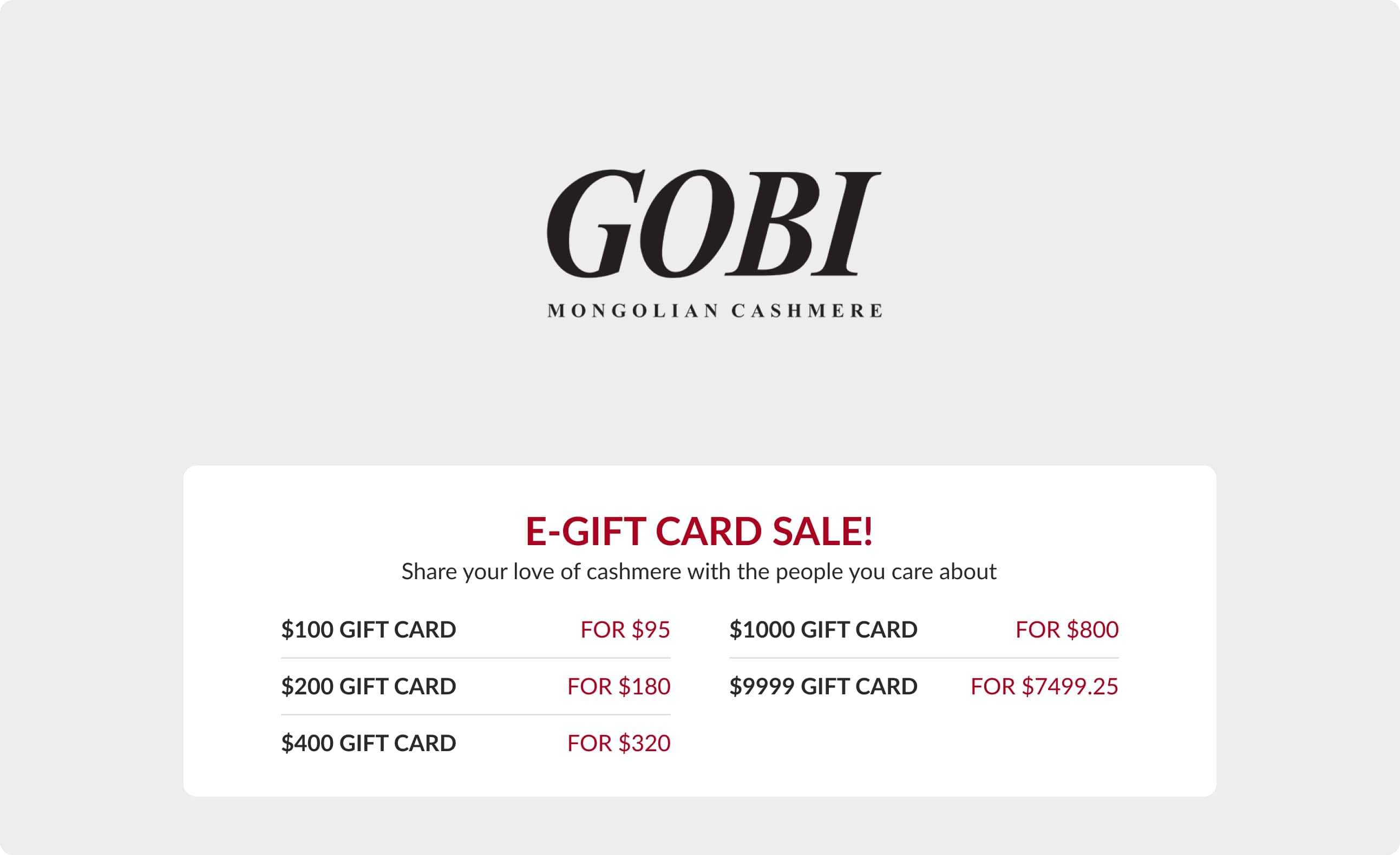 GiftCard product US - Get $100 gift card for $95