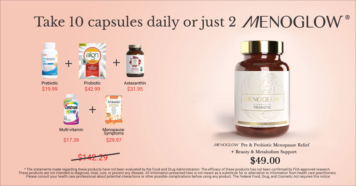 menopause relief for hot flashes, night sweats, and mood swings.* Helps weight management, metabolism, radiance, beauty, skin, hair, nails, immunity, acne, fine lines