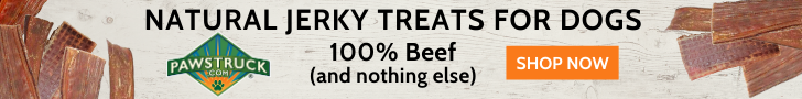 Pawstruck advertisement with image of dog jerky treats and text: Natural Jerky Treats for Dogs, 100% Beef and nothing else. SHOP NOW