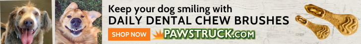 Pawstruck ad featuring photos of smiling dogs and text: Keep your dog smiling with Daily Dental Chew brushes. SHOP NOW
