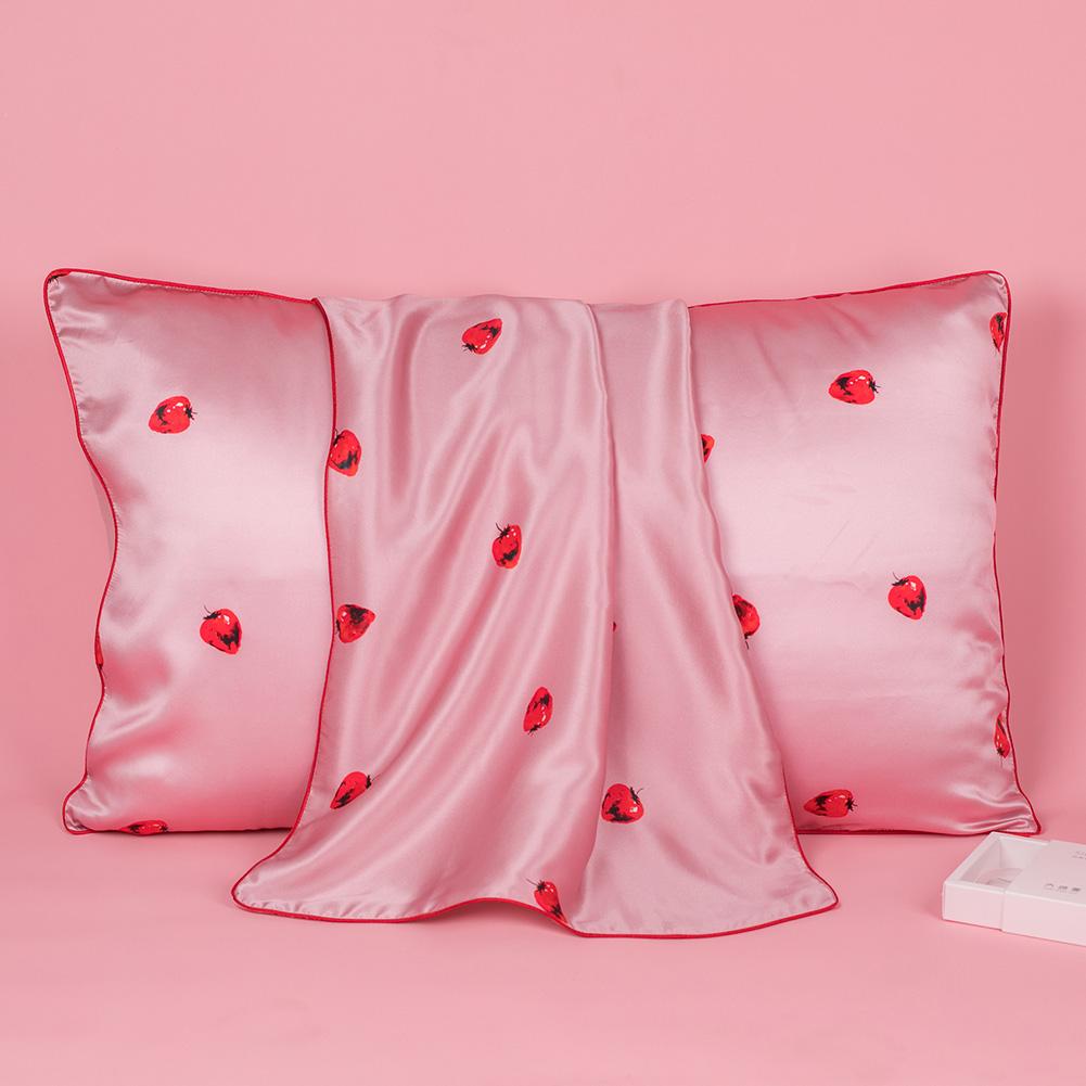 19 Momme Strawberry Silk Pillowcase | Hidden Zipper Closure Was: $34.99 Now: $23.99.