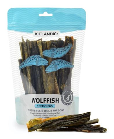 100% Pure Icelandic+™ Wolffish Stick Chews  Your dog will love the irresistible taste and toughness of our nutritious and natural Wolffish Stick Chews Fish dog treats, made from one single ingredient— Wolffish Skin! They are caught fresh daily.