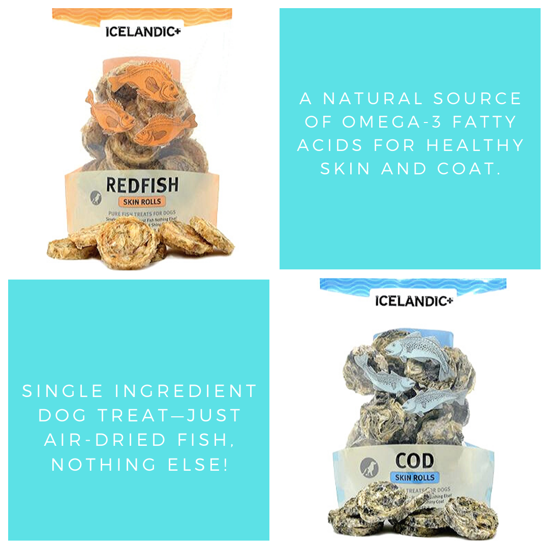Icelandic+ 100% natural and edible Icelandic Fish Treats for Dogs are single ingredient and contain no additives, preservatives or supplements.