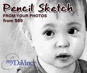 pencil sketches from photos at myDaVinci.com