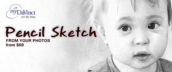 pencil sketch from photos at myDaVinci.com