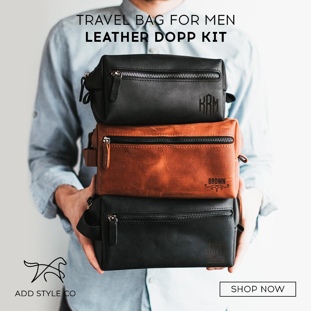 TRAVEL BAG FOR MEN LEATHER DOPP KIT