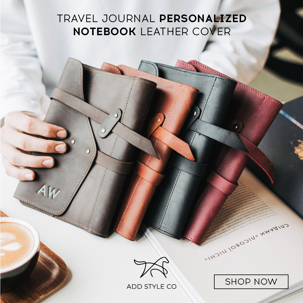 TRAVEL JOURNAL PERSONALIZED NOTEBOOK LEATHER COVER