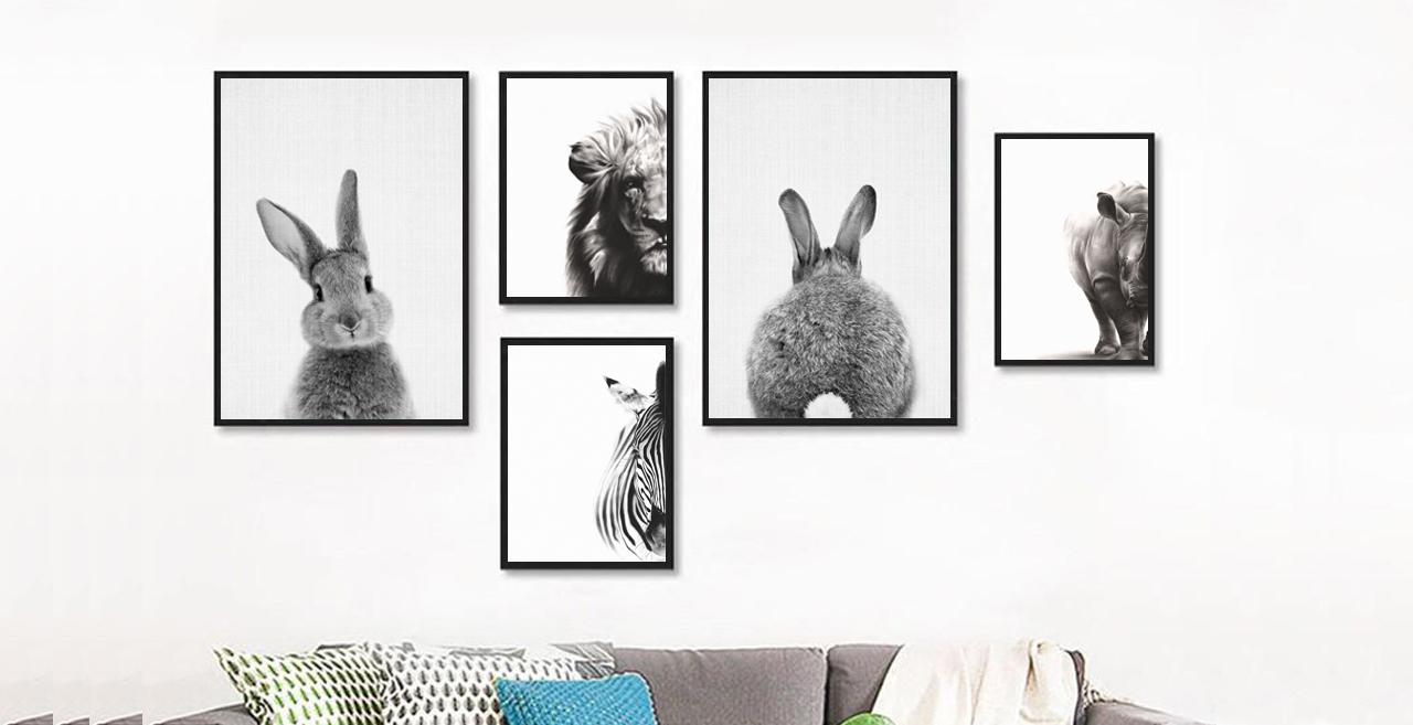 Black & White Bunny Animal For Nursery Decor