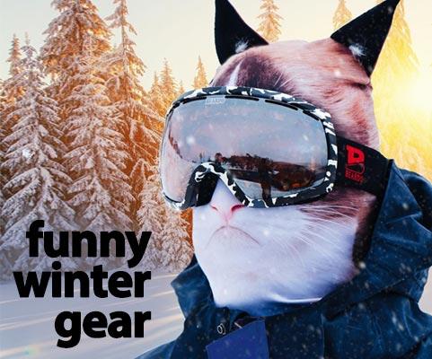 Funny Winter Gear cat head ski mask with ears