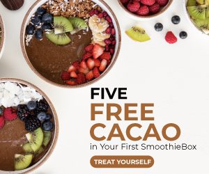 Get 5 Free Cacao Smoothies with your first SmoothieBox at SmoothieBox.com through 7/31/21. No coupon code needed, click through the link and enter your email address to save.
