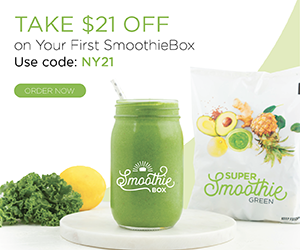 Save $21 on your first SmoothieBox with code NY21 at SmoothieBox.com through 1/31/21.
