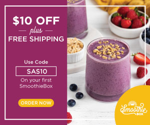 $10 Off + FREE Shipping On Your First SmoothieBox with code SAS10 at SmoothieBox.com!