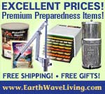 EarthWaveLiving.com offers Modern Homesteading, Sustainable Living, Self-Sufficient, Survival Products, Emergency Preparedness & Essentials, Long-Term Food Storage, Freeze Dried Foods, Hand Water Pumps, Off-the-Grid Living, Alternative Energy & More...