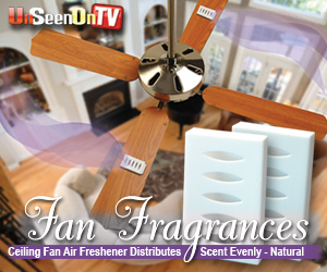 As Seen At TV Presents: Fan Fragrance Air Freshener - $9.95  - The new Fan Fragrance air fresheners are the perfect way to eliminate troublesome odors in your home or office! Simply attach one to the top of a ceiling fan blade � completely hidden from view � and turn on the fan to spread the wonderful scent of lavender throughout the room.  The Fan Fragrance consists of a plastic housing unit with nylon fastener strips and a concentrated air freshener cartridge. This compact unit measures just 2 inches long, 1-1/2 inches wide and 1/2 inch high. Each order includes two lavender scents, plus two bonus refill scents!. Available here on http://www.AsSeenAtTV.com!