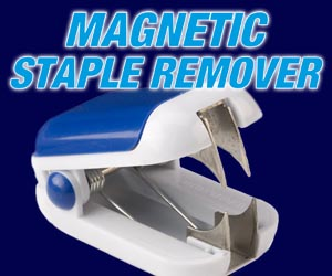 As Seen At TV Presents: Magnetic Staple Remover - $1.99  - Designed by an office cleaner who faced the constant difficulty of removing used staples from carpets, the Magnetic Staple Remover tackles the problem at its source. This uniquely designed staple remover uses an integrated magnet to secure removed staples within the unit.  The Magnetic Staple Remover prevents staples from flying all over the place after being removed, and eliminates those little pokes and injuries associated with emptying conventional staple removers. To use, an individual removes a staple from a set of papers and the magnet draws it upward onto the magnetic strip. When the strip is full, the top piece slides off and the staples can be emptied. The stapler also doubles as a note holder, with the magnetic exterior capable of being affixed to anything metal � like a cabinet or refrigerator.. Available here on http://www.AsSeenAtTV.com!