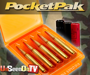 As Seen At TV Presents: PocketPak Bullet Case - $9.95  - Six Pocket Paks included in each order!  Ideal for hunters, reloaders and competition shooters, the PocketPak� Bullet Cases make bullets more easily accessible. These convenient cases hold four or five bullets each, and can fit into most pants or shirt pockets.  The PocketPak� Bullet Cases also protect bullets from damage while not in use, and help to keep bullet tips from deforming. Simply place cartridges inside the case, close and store. To remove a bullet, open the case, push on the end of a cartridge and slide the bullet out. The cases stack easily on shelves or hang on pegboard walls.. Available here on http://www.AsSeenAtTV.com!
