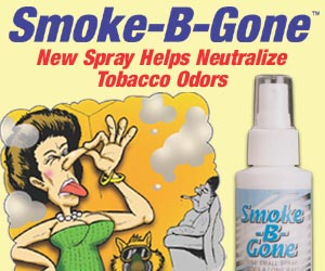 As Seen At TV Presents: Smoke-B-Gone - $2.95  - Say goodbye to unpleasant cigarette and cigar smoke odors with Smoke-B-Gone™ spray! According to the inventor, this patented formula sterilizes airborne bacteria caused by smoke, and leaves clothes, carpets and upholstery smelling fresh and clean. It also works to eliminate pet and kitchen odors around the house.  Simply point the nozzle into the air or 12 inches away from any object, then spray. It's that easy to neutralize the smell of secondhand smoke in any enclosed area!. Available here on http://www.AsSeenAtTV.com!