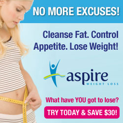 Cleanse Fat. Eliminate toxins. Control Appetite. Lose Weight with Aspire - the easy 3 step herbal weight loss program that really works! Risk Free Trial - Save $30 Now! 100% Money Back Guaranteed!