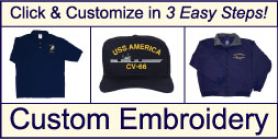 Get your military logo custom embroidered on a quality shirt, jacket or cap