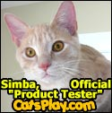 Simba is the official 'Product Tester' at CatsPlay.com