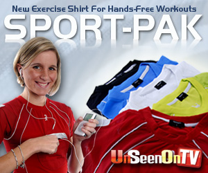 As Seen At TV Presents: Sport-Pak - $49.95  - Finding a good place to put a cell phone or set of keys while taking a jog or lifting weights at the gym can be a real problem. Offering a convenient solution is the Sportpak�, a workout shirt that incorporates secure areas for placement of important items.  The Sportpak contains three pockets for a person to store various articles. The front pocket holds a musical device or a cell phone, and the other two pockets on the sleeves can store a gym card, credit cards, money, keys or other lightweight items. The sides of the shirt have night reflective strips to ensure safety when working out in the evening or early morning.. Available here on http://www.IHaveSeenOnTV.com!